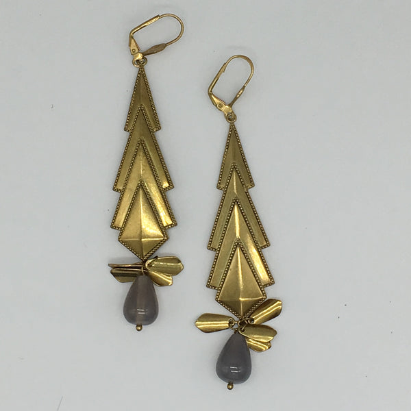 Bronze Drop Earrings with Black Agate