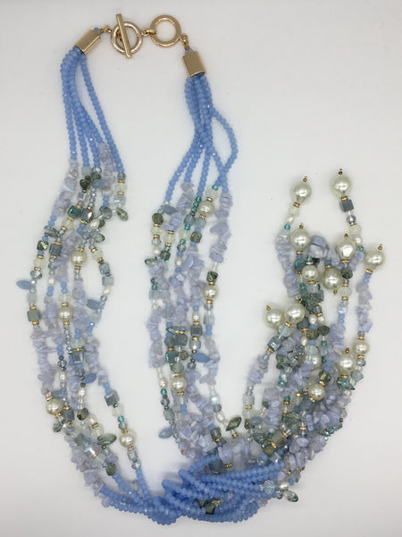 Exquisite Pale Blue Crystal Scarf Necklace