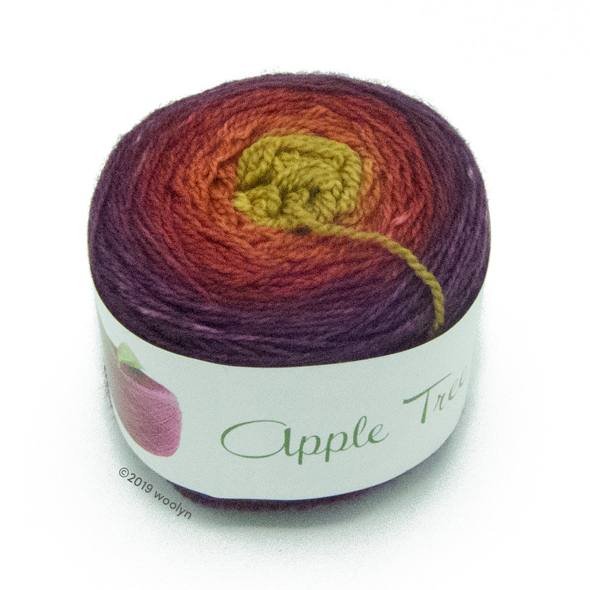 A wound cake of hand dyed fingering weight yarn from Apple Tree Knits..  Yarn is a gradient from deep purple to brown to yellow green.