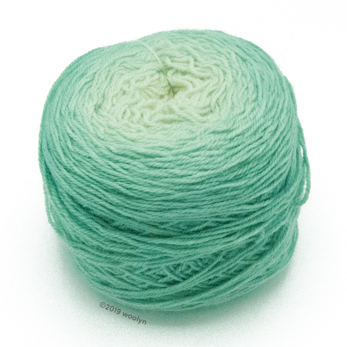 A wound cake of hand dyed fingering weight yarn from Apple Tree Knits..  Yarn is a gradient from white to light minty green.