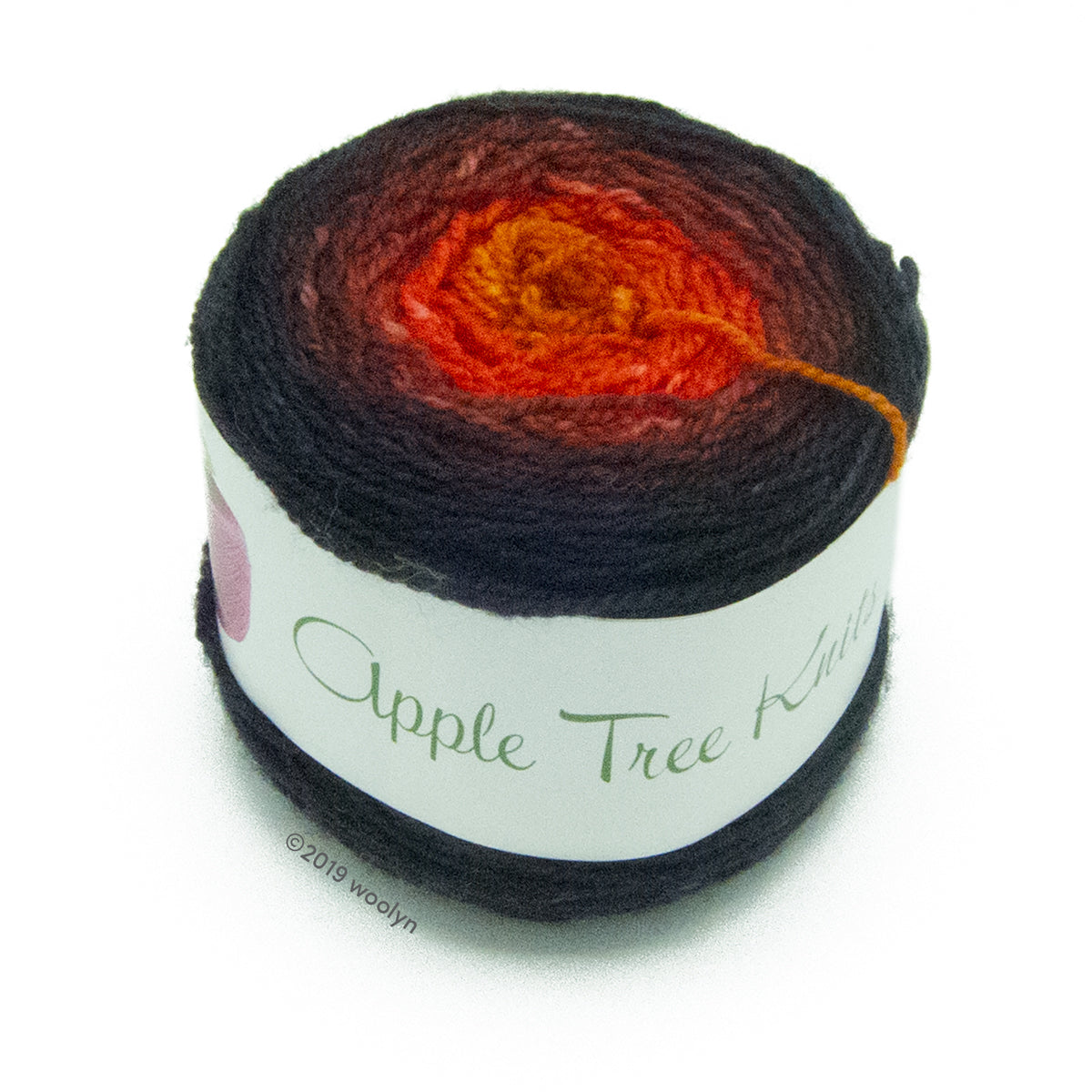 A wound cake of hand dyed fingering weight yarn from Apple Tree Knits..  Yarn is a gradient from black to brown to red to dark orange.