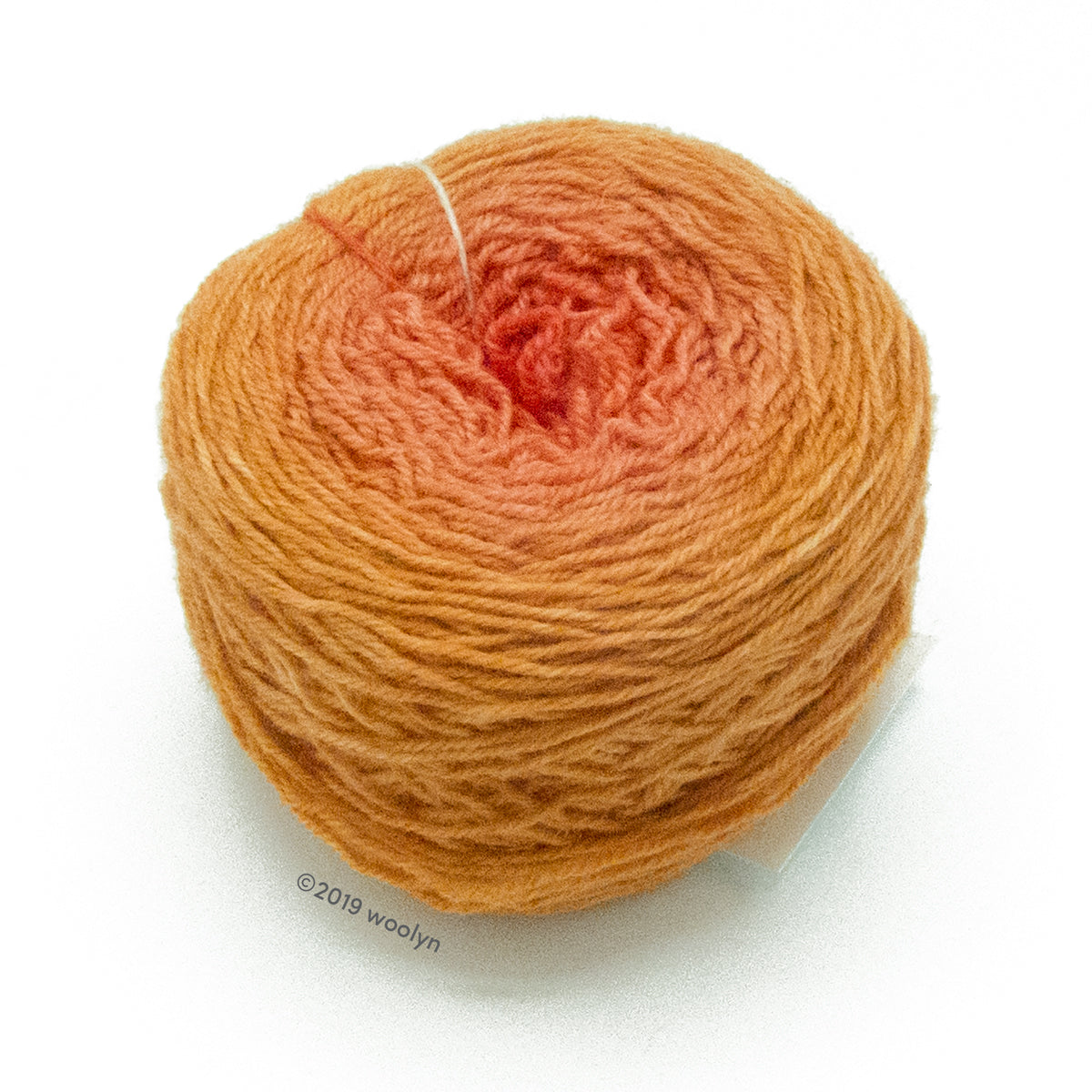 A wound cake of hand dyed fingering weight yarn from Apple Tree Knits..  Yarn is a gradient from pinkish orange to pumpkin.