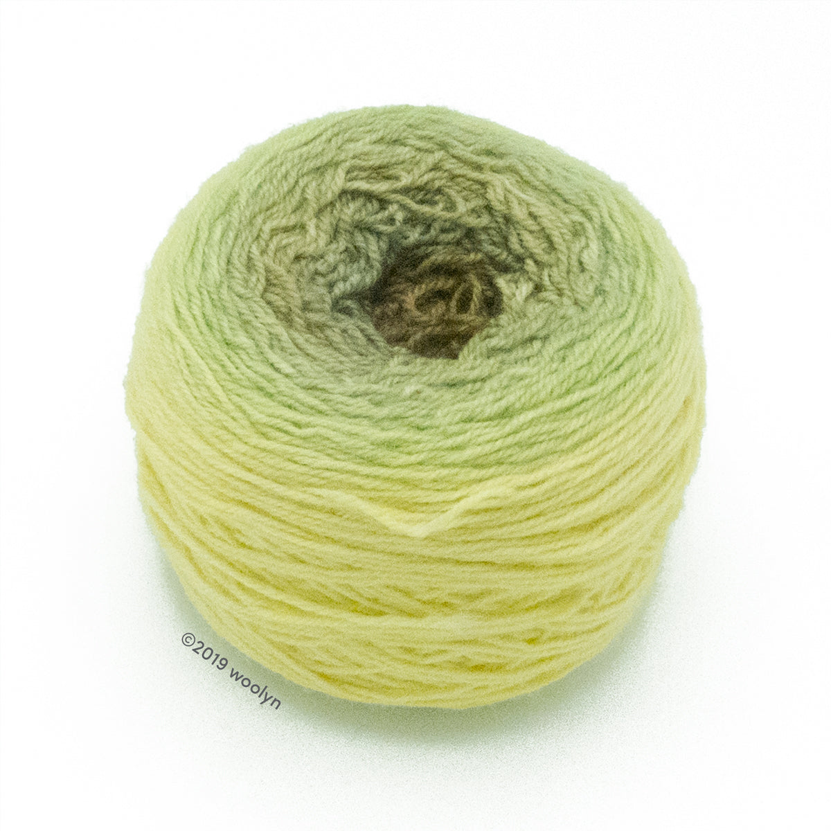 A wound cake of hand dyed fingering weight yarn from Apple Tree Knits..  Yarn is a gradient from pale yellow to pale green to dark greenish brown.