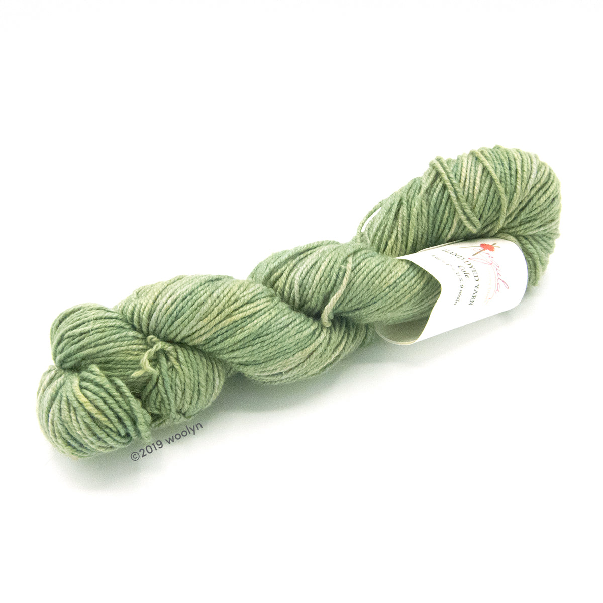 A twisted skein of Anzula Cole yarn in a light avocado green.
