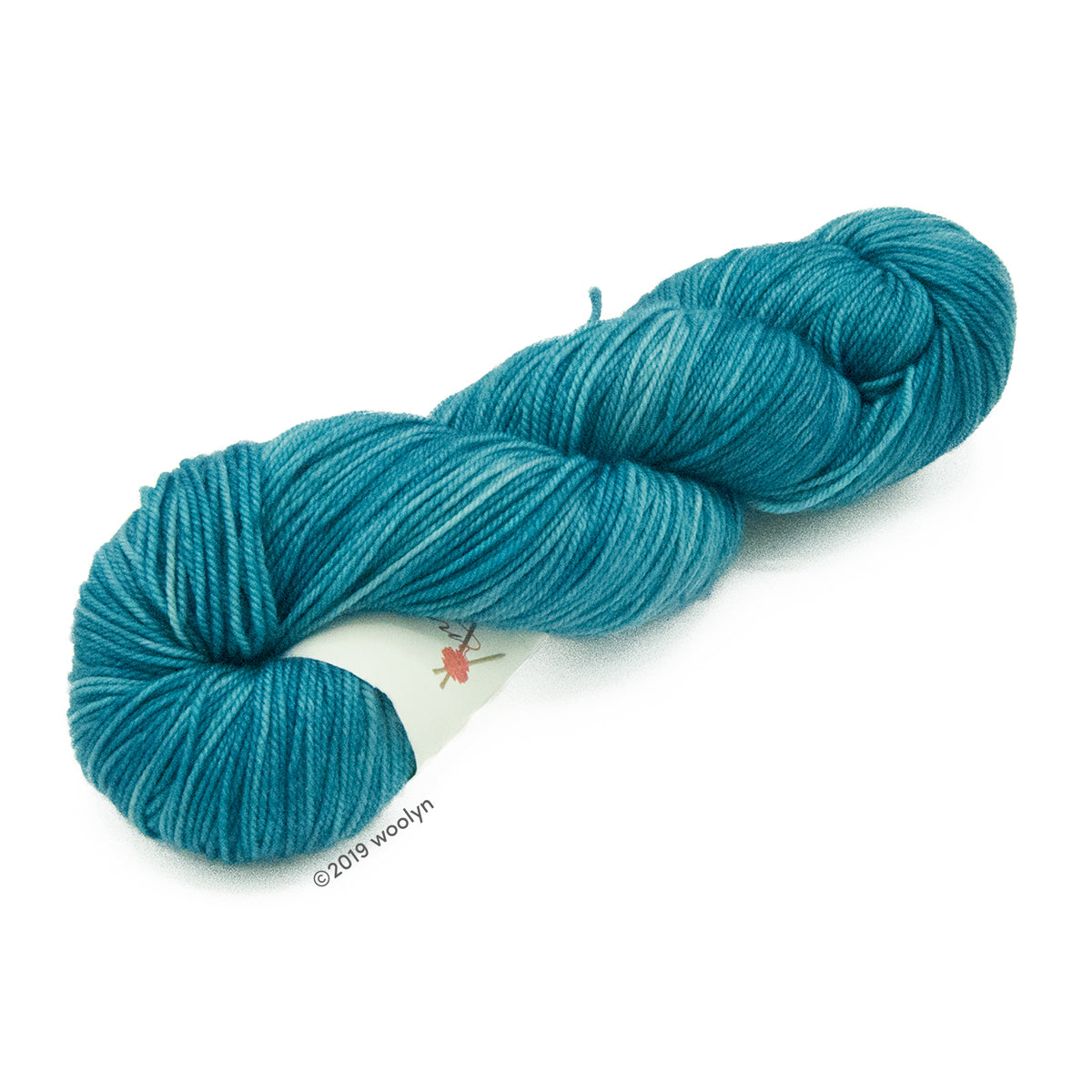 Hand dyed aqua yarn twisted into a skein.