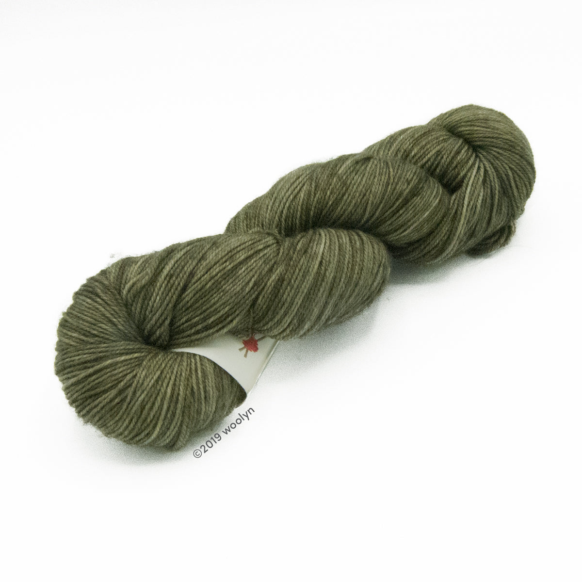 Hand dyed  fingering weight yarn in dark olive with hints of black tonal shades twisted into a skein.