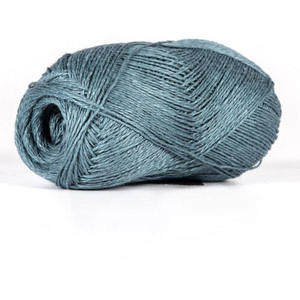 Skein of sport weight linen yarn from BC Garn. Color is a steel grey.