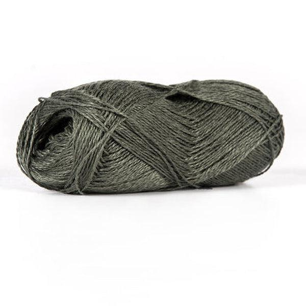 Skein of sport weight linen yarn from BC Garn. Color is a dark brownish green.