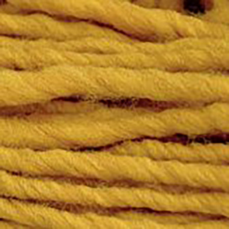 Close up of Brown Sheep Burly Spun in mustard yellow.