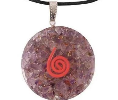 Amethyst Orgone Pendant With Happiness Symbol