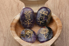 Amethyst Cabochon With Reiki Symbols (Set of Four)