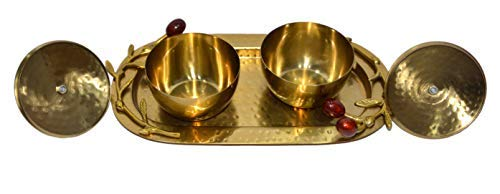 Brass Bowl Set With Tray