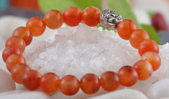 Carnelian Buddha Charm Bracelet For Motivation