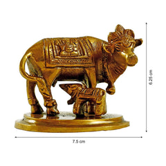 Brass Holy Kamdhenu Cow & Calf Statue (Height 2.5 inches )