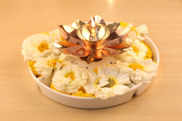 Brass and Copper Lotus Flower Designed Puja Diya (5 Inch)