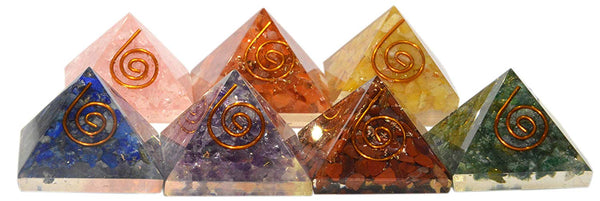 Seven Stones Orgone Pyramid in Pack of One (1 inch )
