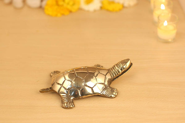 Brass Tortoise Statue (4.8 and 3.8 Inches)