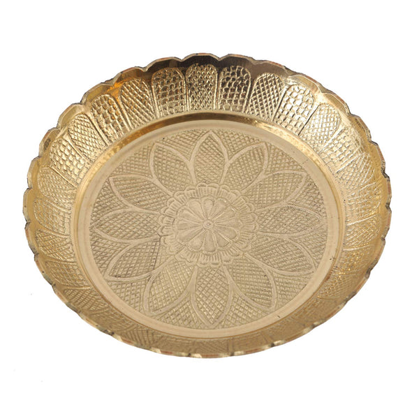 Brass Embossed Designed Puja Plate (5.5 Inch)