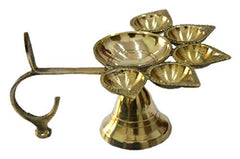 Brass Panch Arti Diya Incense Holder