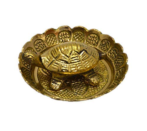 Brass Tortoise with Plate (Height: 2 cm)