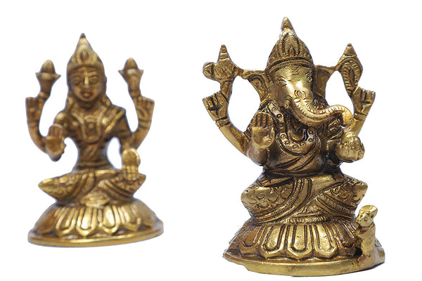 Brass Maa Lakshmi and Lord Ganesh Statue (Height: 4 inches)
