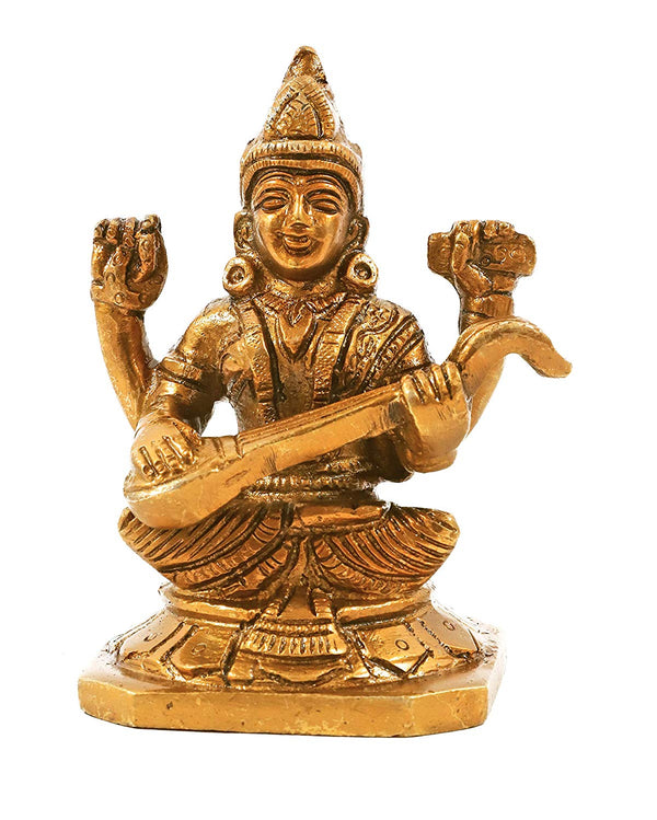 Brass Maa Sarawati Satue (Height 3.5 Inches)