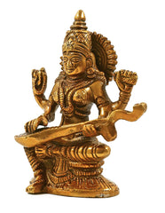 Brass Maa Saraswati Statue (Height 4.5 Inches)