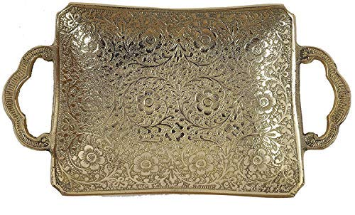 Brass Embossed Serving Plate with Handle