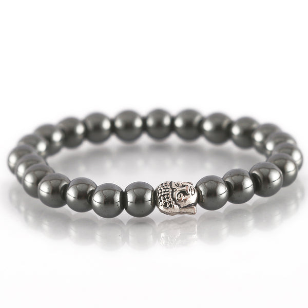 Hematite Faceted Buddha Charm Bracelet For Power and Courage
