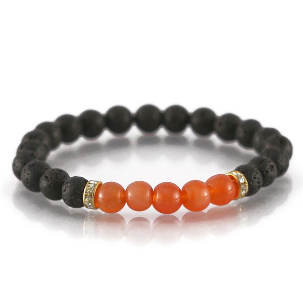 Lava and Carnelian Charm Bracelet For Motivation and Protection