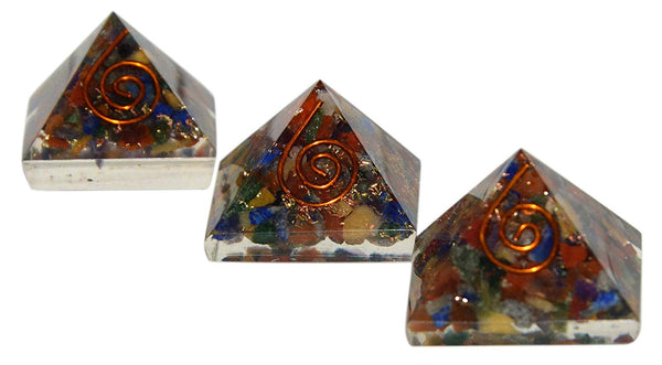 Multi Stones Orgone Pyramid Set Of 3 (1 inch)