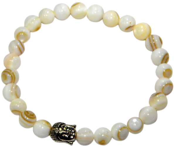 Mother of Pearl Buddha Charm Bracelet (Beads Size - 7-8 mm)