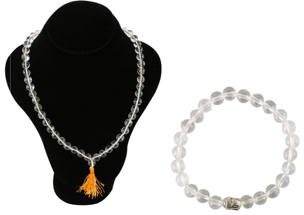 Crystal Sphatik Necklace With Crystal Buddha Charm Bracelet