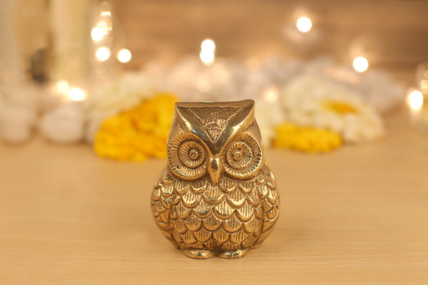 Brass Owl Statue (2 and 1.7 Inches)