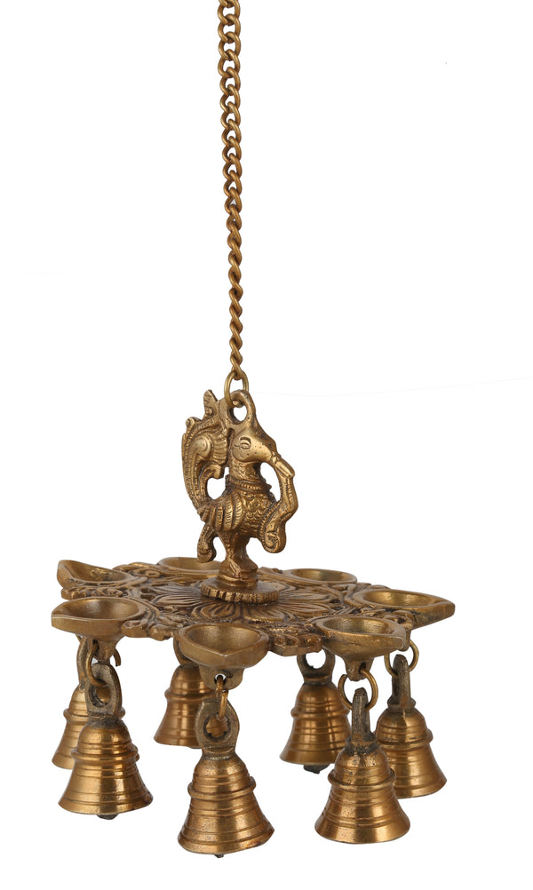 Brass Peacock Hanging Diya With Bells (21 Inch)