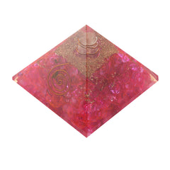 Pink Clear Crystal Orgone Pyramid