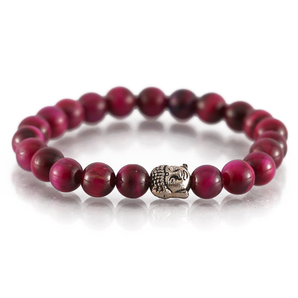 Pink TIger Eye Buddha Charm Bracelet For Protection and Harmony