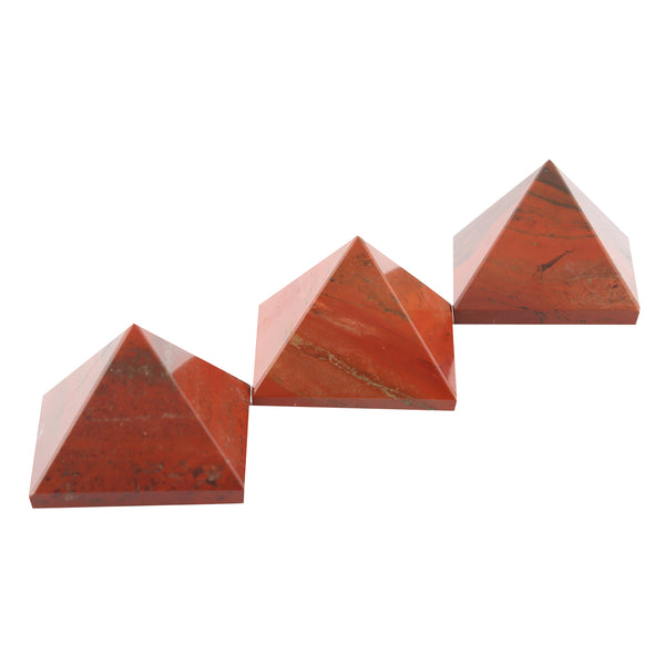 Set of 3 - Red Jasper Gemstone Pyramid For EMF Protection