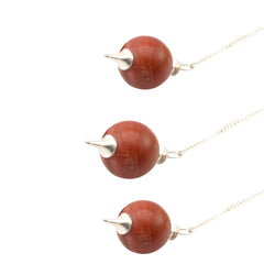 Red Jasper Round Reiki Chakra Ball Pendulum (Set of 3)