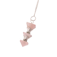 Rose quartz 3 Pyramid Pendulum