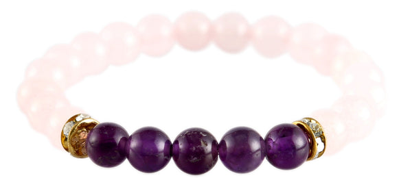 Amethyst and Rose Quartz Charm Bracelet For Love and Peace