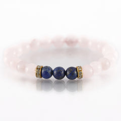 Rose Quartz and Lapis Lazuli Charm Bracelet For Love and Balancing