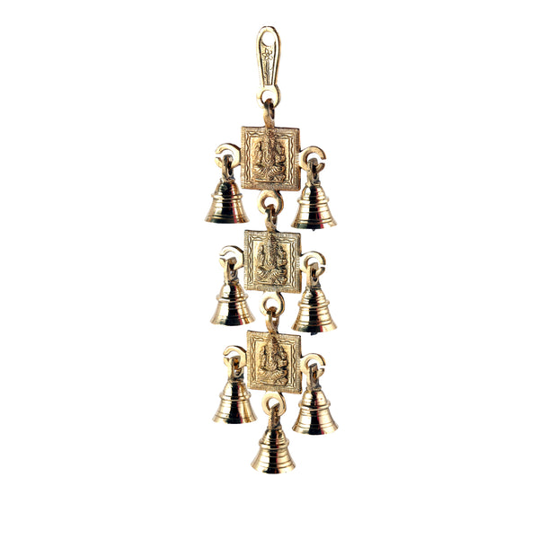 Brass Ganesh With 7 Bells Wall Hanging (12 Inch)