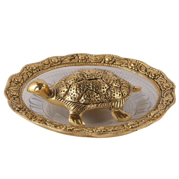 Brass Plate With Tortoise Statue (5.5 Inch)
