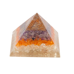 Tri-Color Amethyst With Life of Tree Symbol Orgone Pyramid