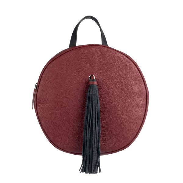 Dark Red Round Backpack