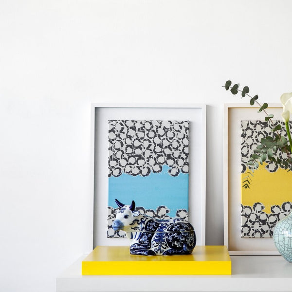 Light Blue Fabric Bubbles in White Large Wooden Frame