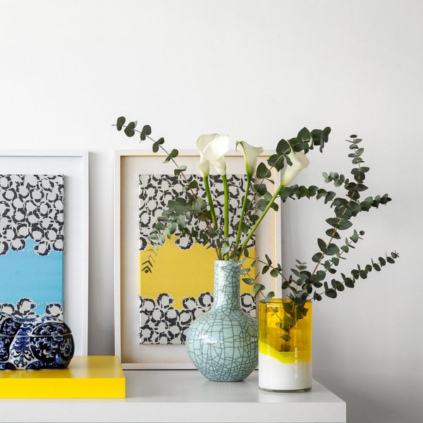 Yellow Fabric Bubbles in White Large Wooden Frame