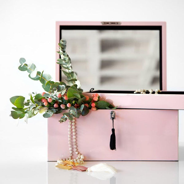 Blush Pink Lacquered Jewelry Box with Key
