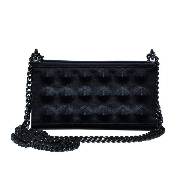Black Leather with studs iPhone Bag